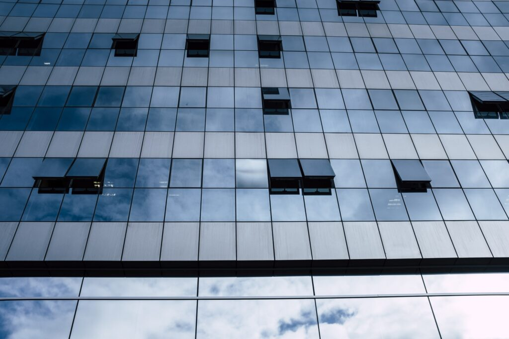 View of blue windows in a skyscraper