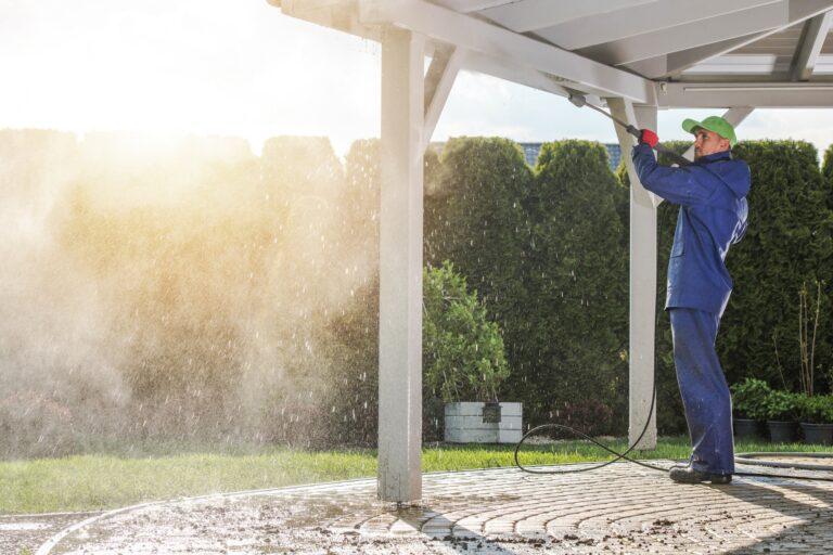 House patio power washing
